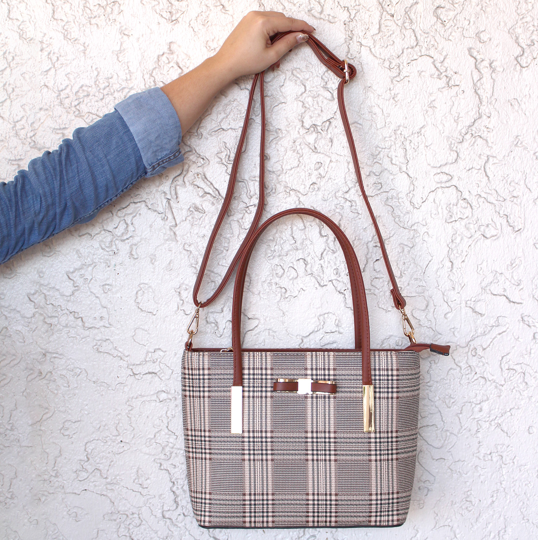 701163a666 Proper Bow Plaid Handbag - Best of Everything