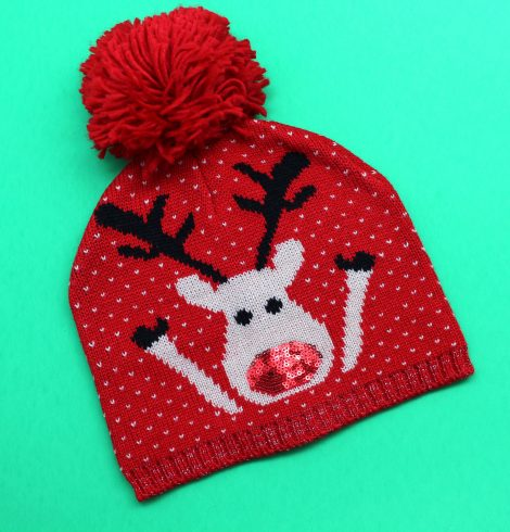A photo of the Rudolph Pom Pom Beanie product