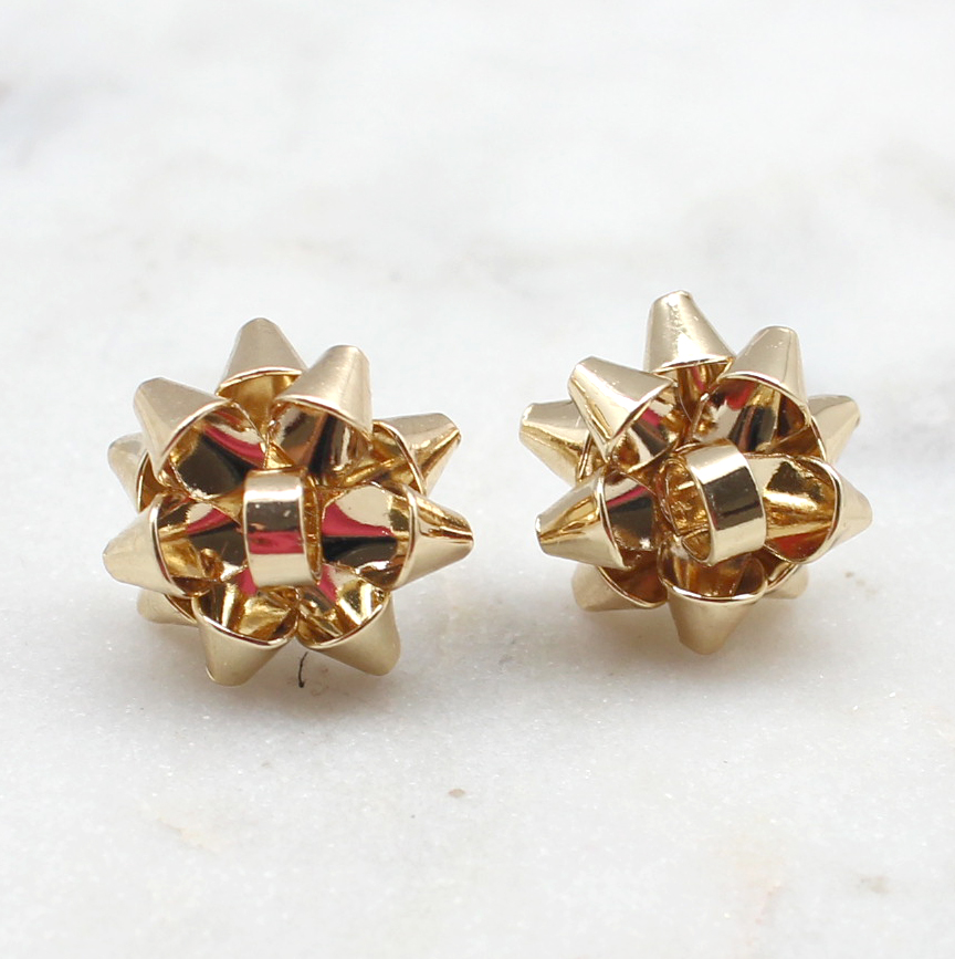 Christmas Bow Stud Earrings - Best of Everything   Online Shopping