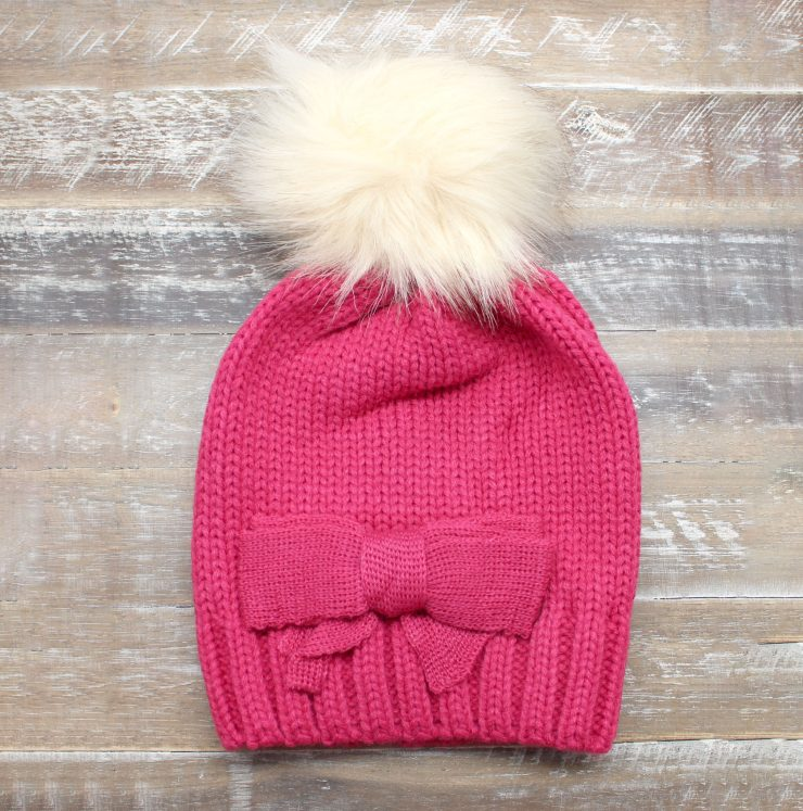 A photo of the Pretty Bow Kids Beanie product