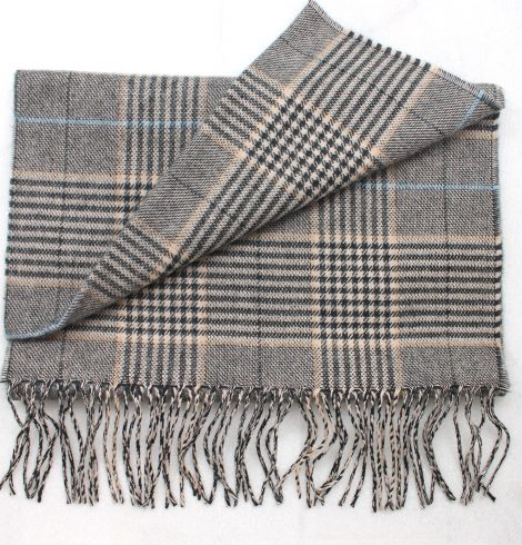 A photo of the Black, Beige & Blue Plaid Cashmere Feel Scarf product