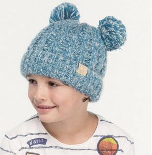 A photo of the Kids Double Pom Pom Beanie product