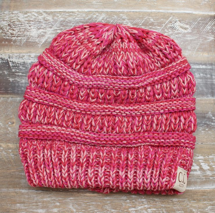 A photo of the Pink Kid's Knit Beanie product