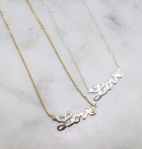 A photo of the Script Love Necklace product