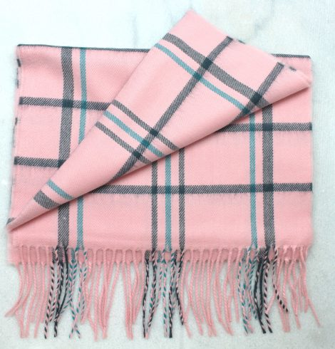 A photo of the Navy, Pink & Teal Striped Plaid Cashmere Feel Scarf product