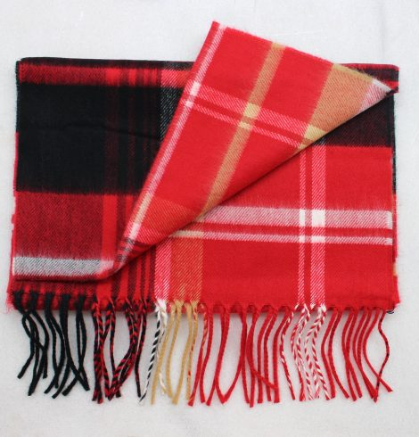 A photo of the Red, Black, Beige & White Plaid Cashmere Feel Scarf product