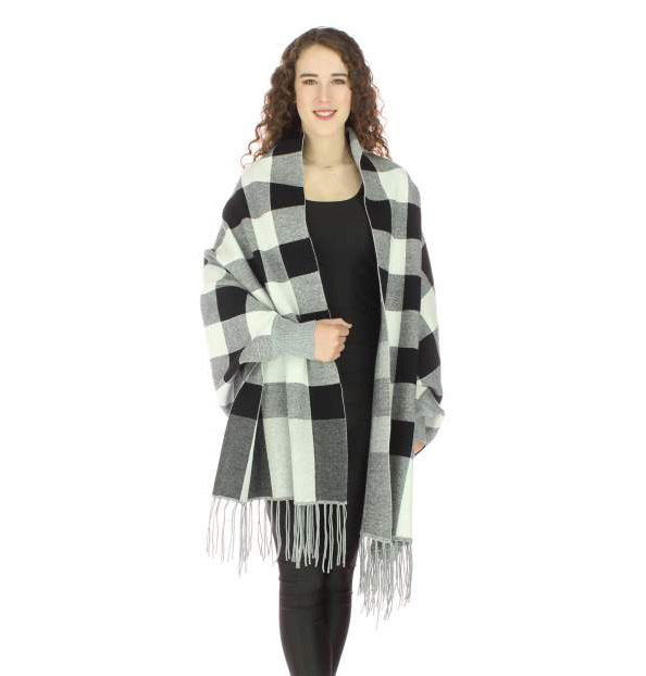 Checkered Sweater Wrap Best Of Everything Online Shopping