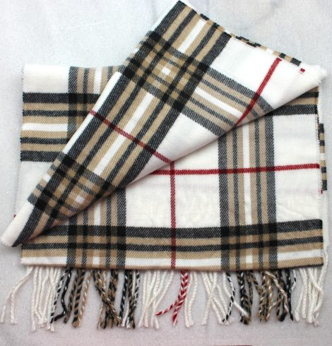 A photo of the Creme Plaid Cashmere Feel Scarf product