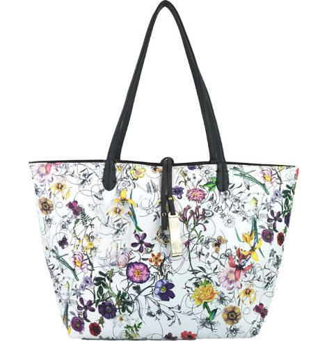 A photo of the Tropical Garden & Grey Reversible Tote product