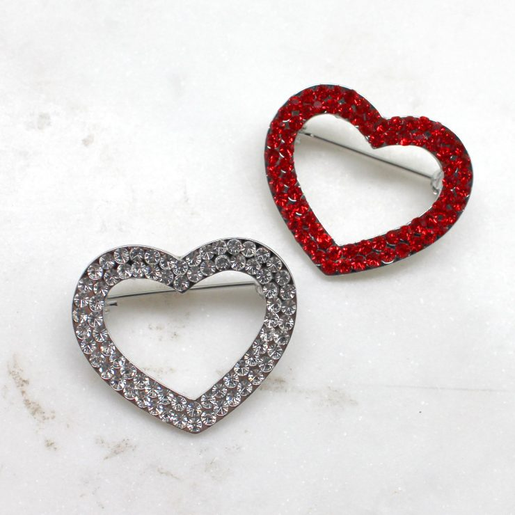 A photo of the Rhinestone Heart Pin product