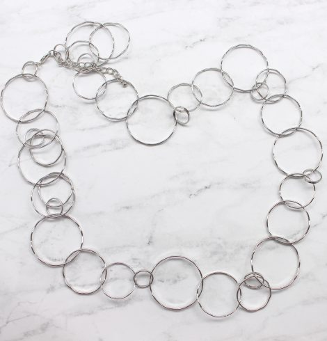 A photo of the Long Bubble Link Necklace product