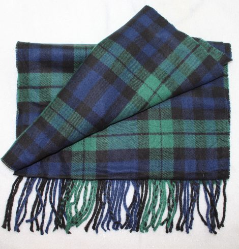 A photo of the Navy & Green Plaid Cashmere Feel Scarf product