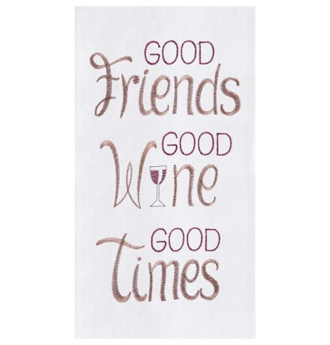 A photo of the Good Friends Good Wine Good Times Kitchen Towel product