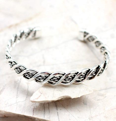 A photo of the Braided Silver Cuff Bracelet product