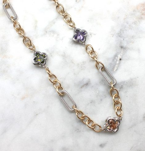 A photo of the Chain Gemstone Necklace product