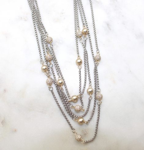 A photo of the Gold Beaded Layer Necklace product