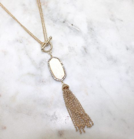 A photo of the Gold Tassel Necklace product