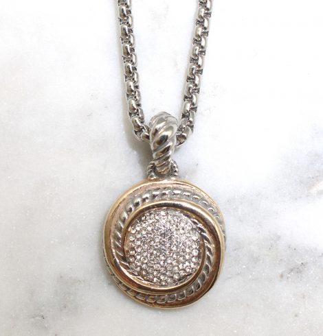 A photo of the Rhinestone Circle Necklace product