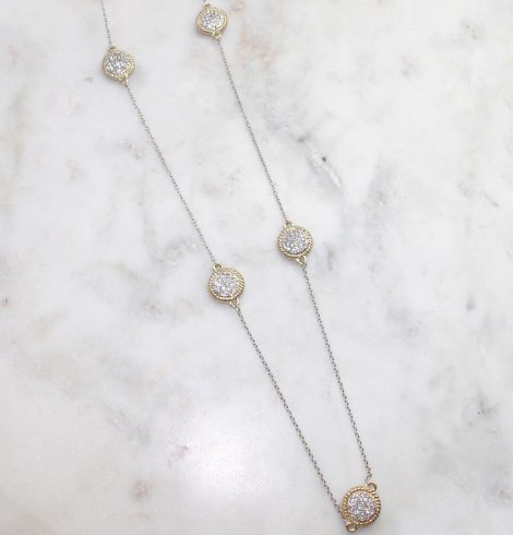 A photo of the Rhinestone Coin Necklace product