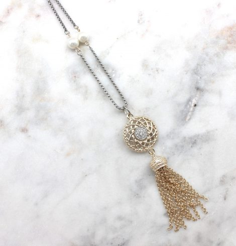 A photo of the Rhinestone Dial Necklace product