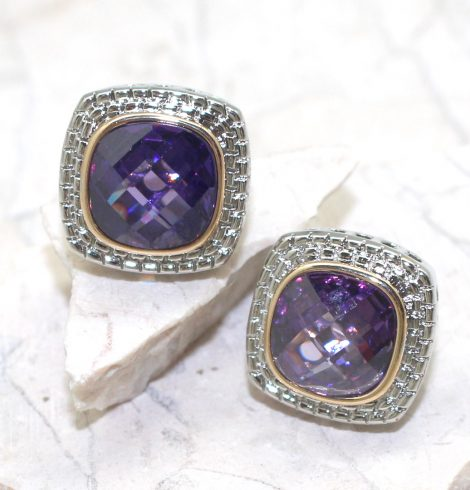 A photo of the Square Gemstone Earrings product