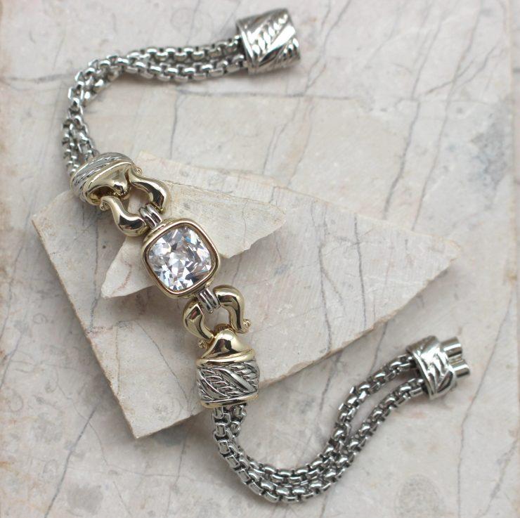 A photo of the Square Lock Gemstone Bracelet product