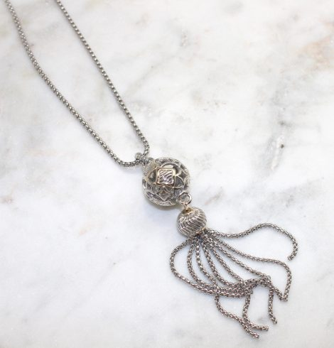 A photo of the Sphere Tassel Pendant Necklace product