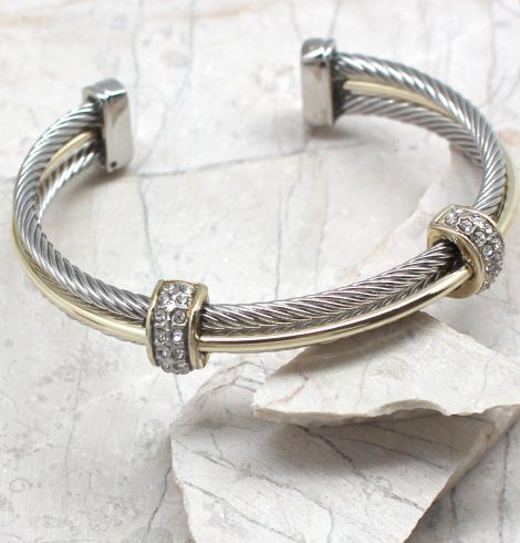 A photo of the Two Bead Cuff Bracelet product