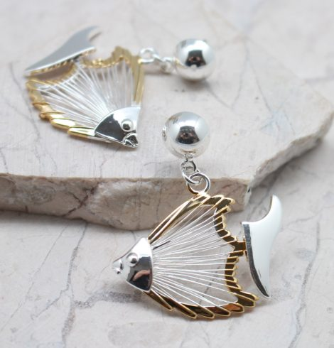 A photo of the Wire Fish Earrings product