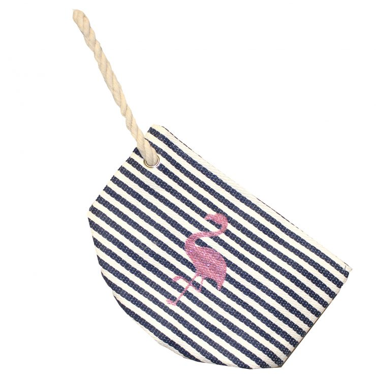 A photo of the Striped Flamingo Wristlet product