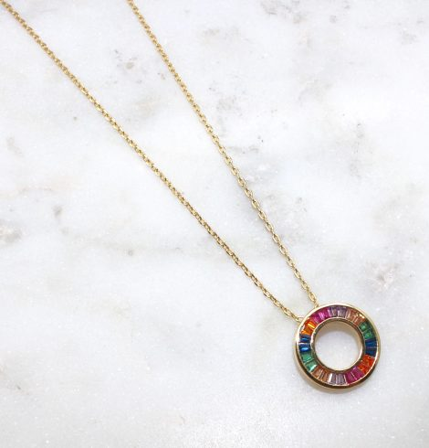 A photo of the Colorful Circle Necklace product