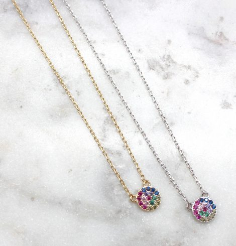 A photo of the Colorful Disc Necklace product