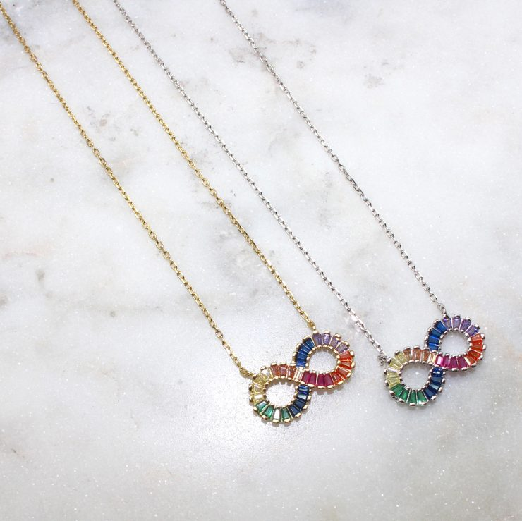 A photo of the Colorful Infinity Necklace product