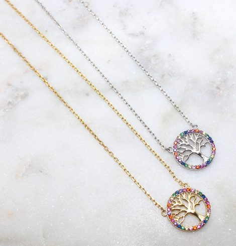 A photo of the Colorful Tree Of Life Necklace product
