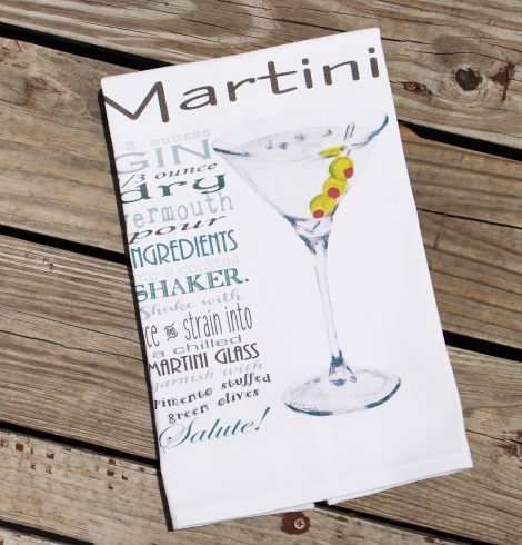 A photo of the Martini Recipe Kitchen Towel product