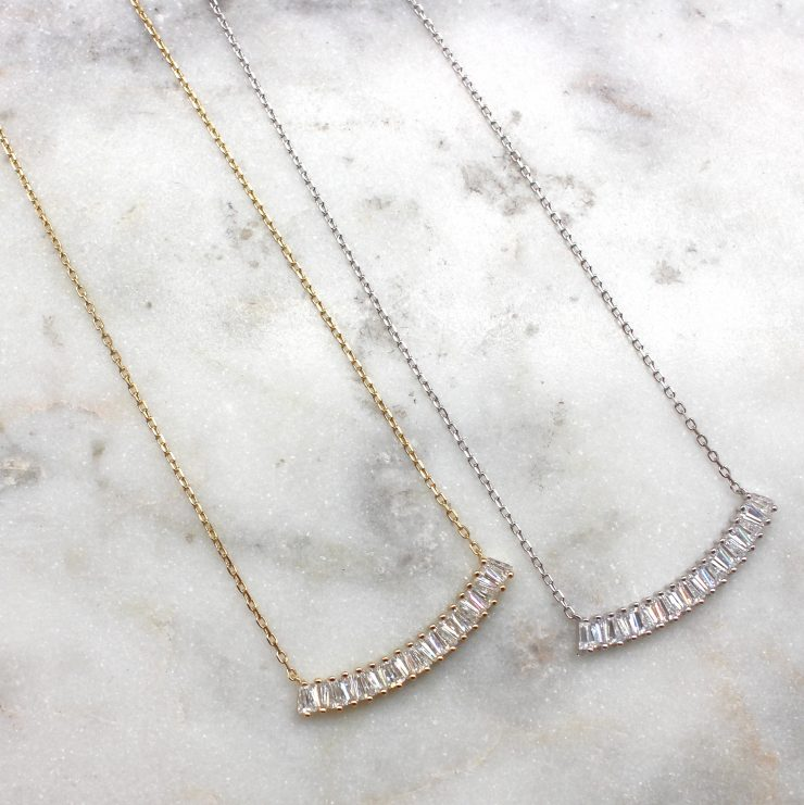 A photo of the Baguette Bar Necklace product