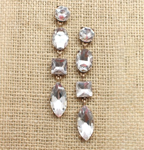 A photo of the Rhinestone Large Gem Earrings product