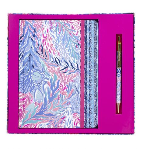 A photo of the Journal With Pen In Kaleidoscope Coral product