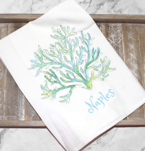 A photo of the Naples Coral Flower Sack Towel product