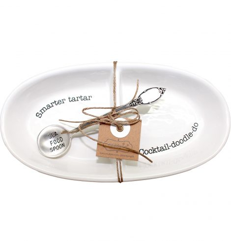 A photo of the Seafood Sauce Dish and Spoon Set product