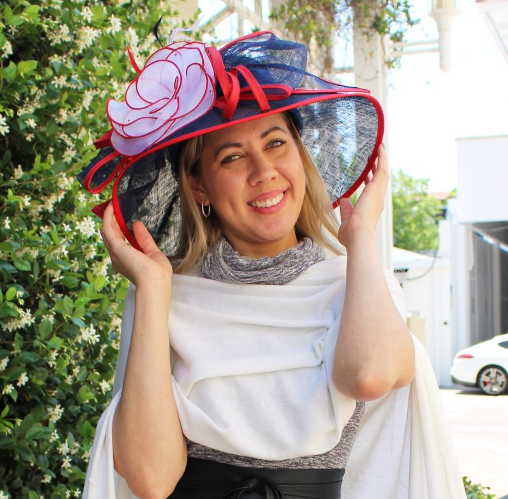 A photo of the Red White and Blue Fascinator Hat product