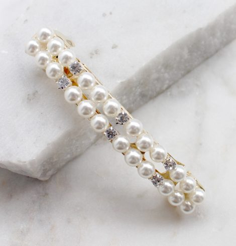 A photo of the Rhinestone and Pearl Barrette product