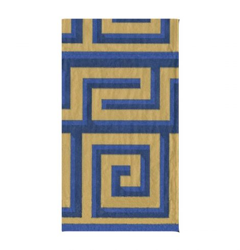 A photo of the Greek Meander Guest Towels In Blue and Gold product