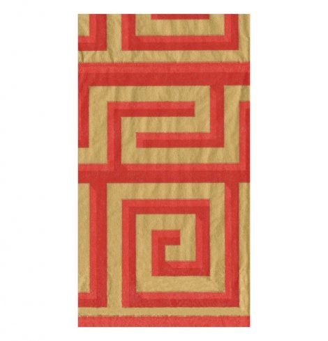 A photo of the Greek Meander Guest Towels In Coral and Gold product