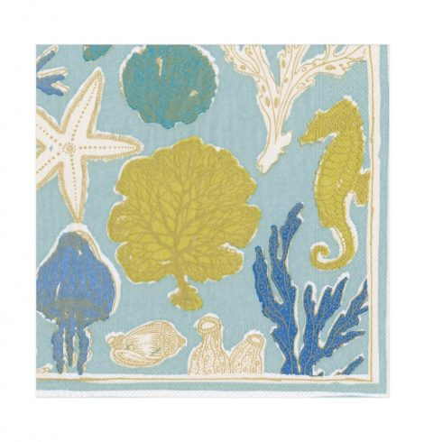 A photo of the Sealife Luncheon Napkins In Aqua product