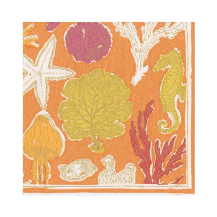 A photo of the Sealife Luncheon Napkins In Coral product