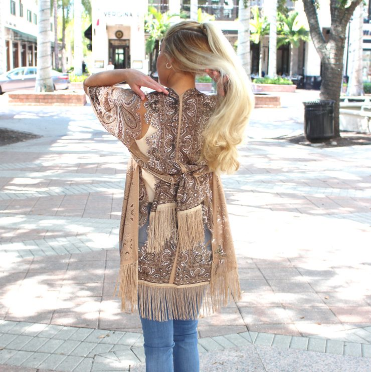 A photo of the Paisley Fringe Kimono product