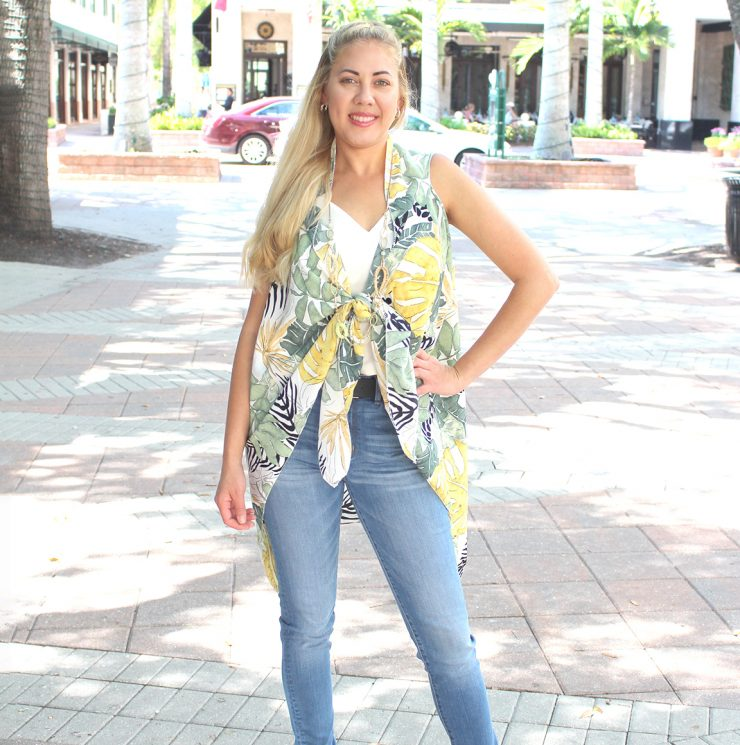 A photo of the Tropical Leaves Kimono Vest product