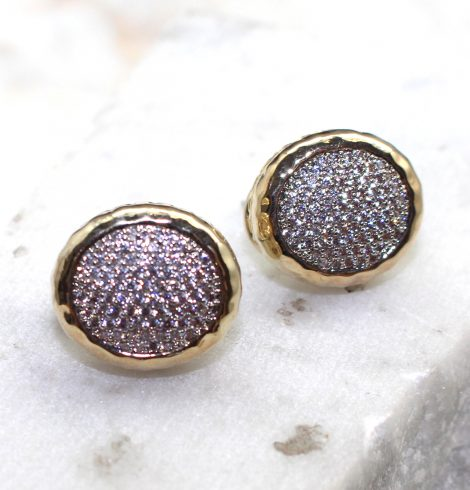 A photo of the Two Tone Button Earrings product