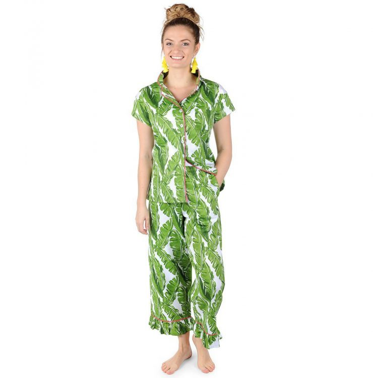 A photo of the Banana Leaf Sateen Capri Pajama Set product